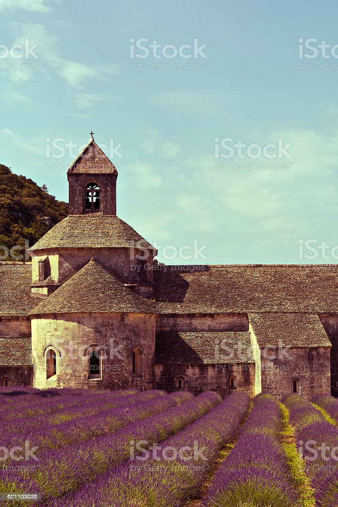 Senanque Abbey and lavender field , Provence, France stock photo