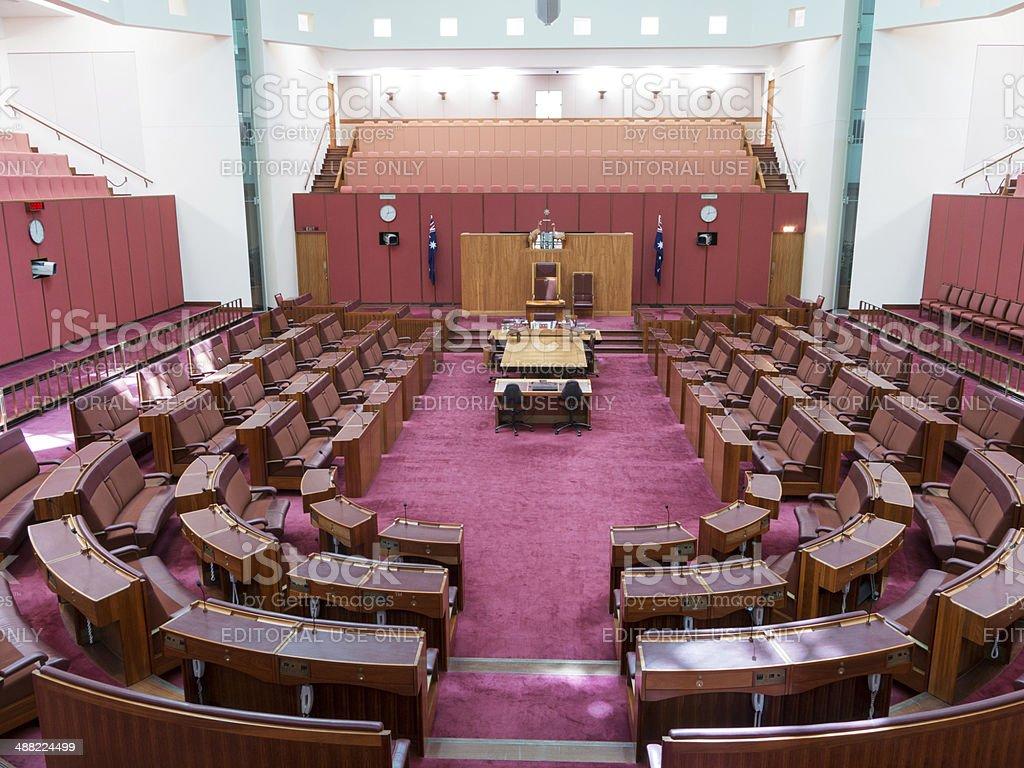 Senate chamber in Parliament of Australia stock photo