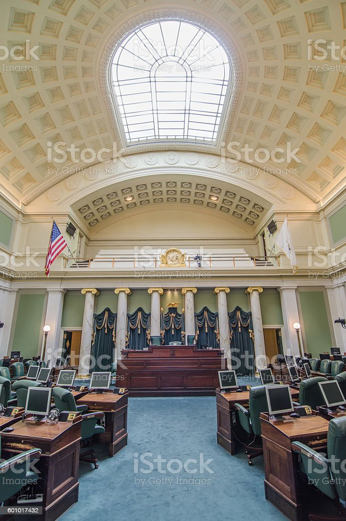 Senate chamber in Providence State House stock photo