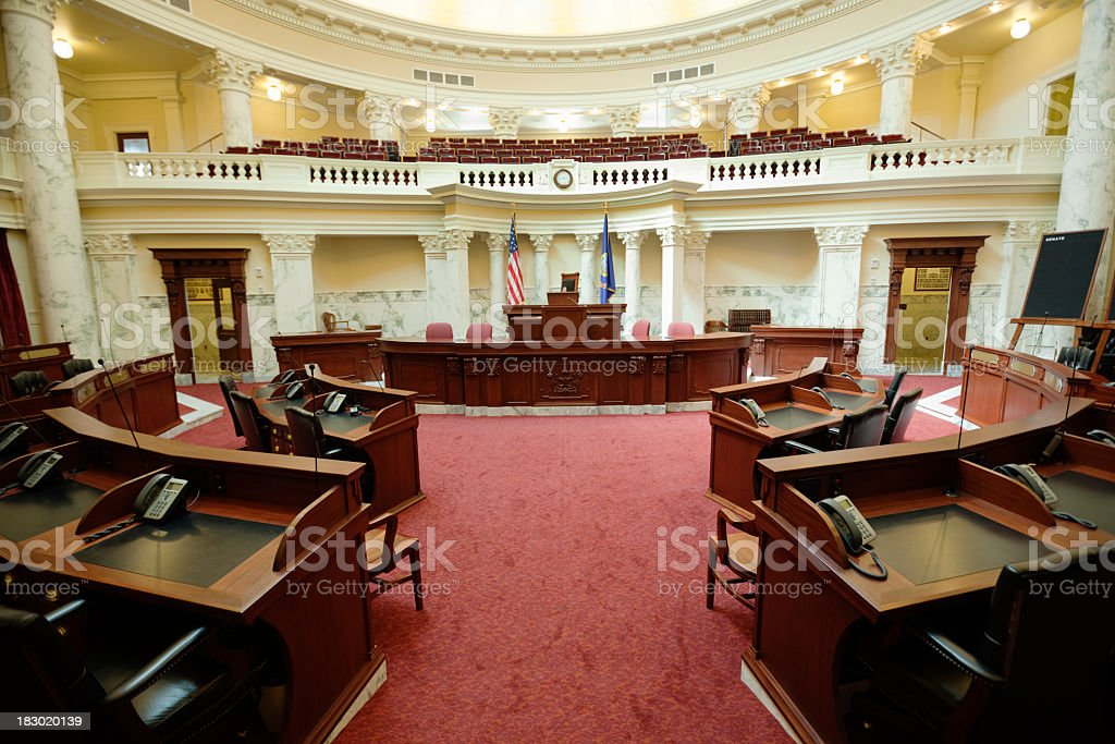 Senate Chamber Inside State Capitol Government Building, Boise, Idaho, USA stock photo