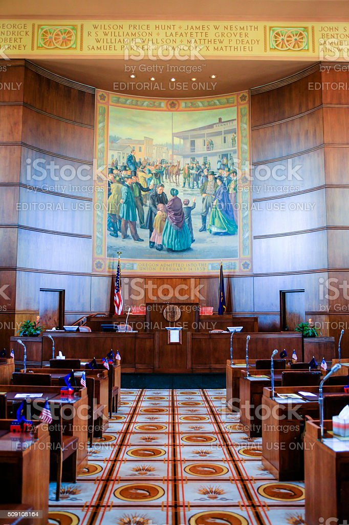 Senate chamber inside the Oregon State Capitol building stock photo