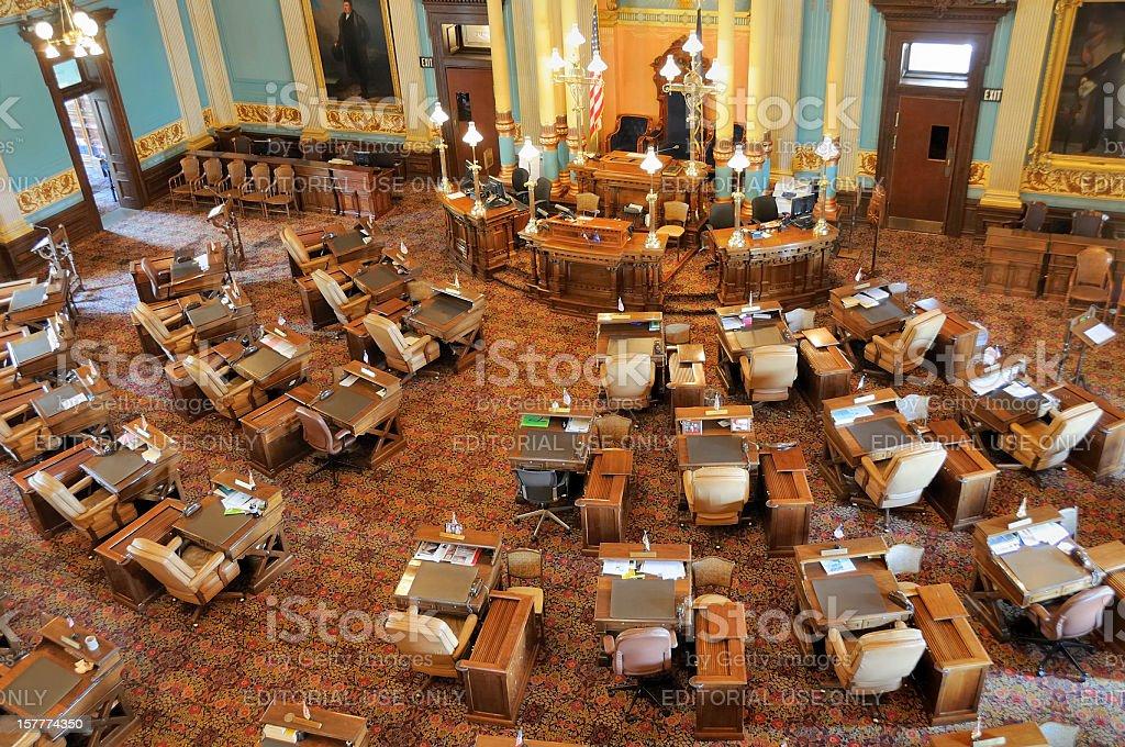 Senate Chamber of Michigan, Lansing stock photo