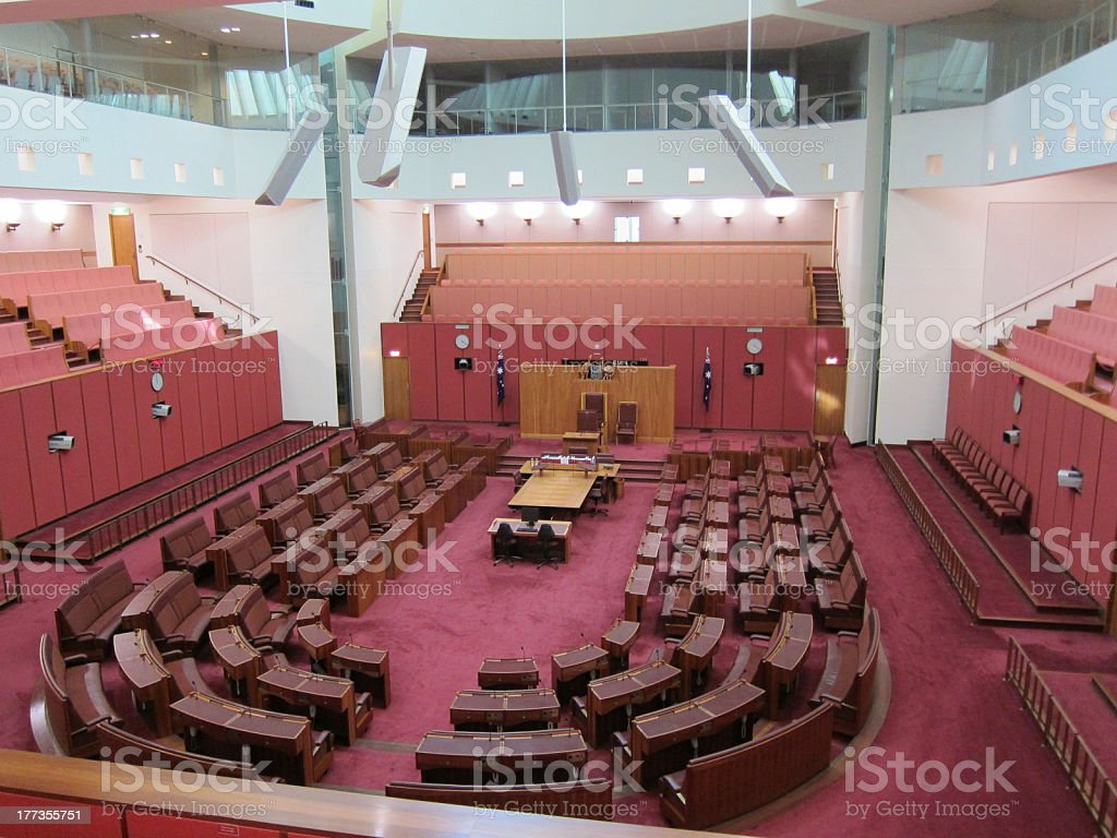 Senate Chamber Parliament House Canberra stock photo