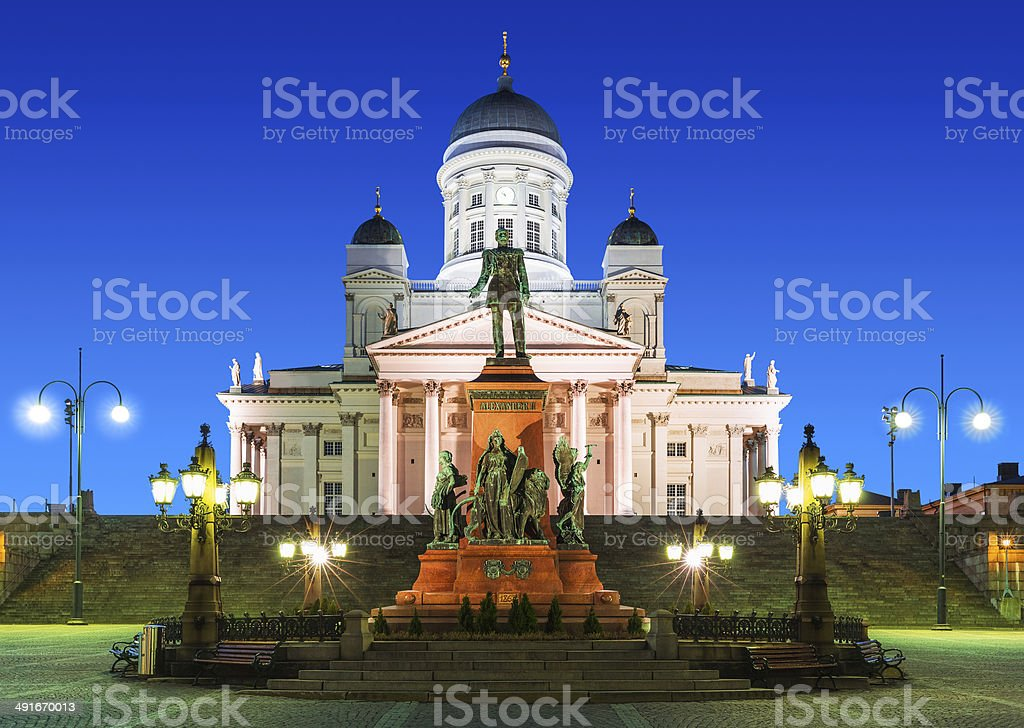 Senate Square at night in Helsinki, Finland stock photo