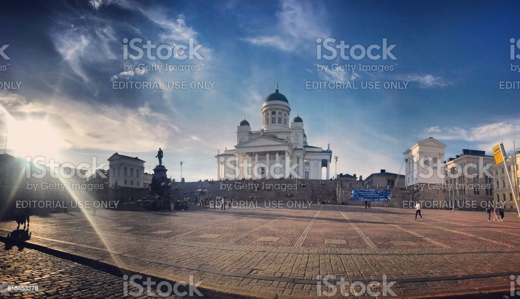 Senate Square with Helsinki Cathedral and tourists sightseeing, Finland stock photo