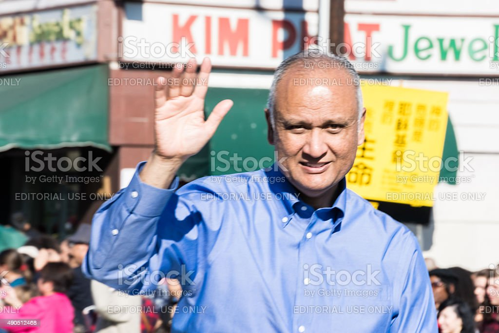 Senator Ed Hernandez during  the Golden Dragon Parade, stock photo