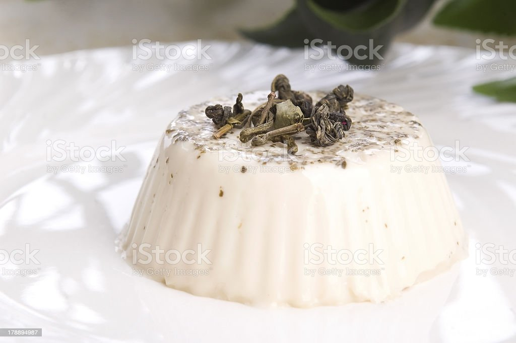 sencha panna cotta royalty-free stock photo