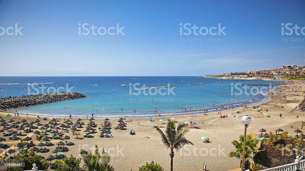 Send beach Playa de las Americas on Tenerife, Spain. stock photo