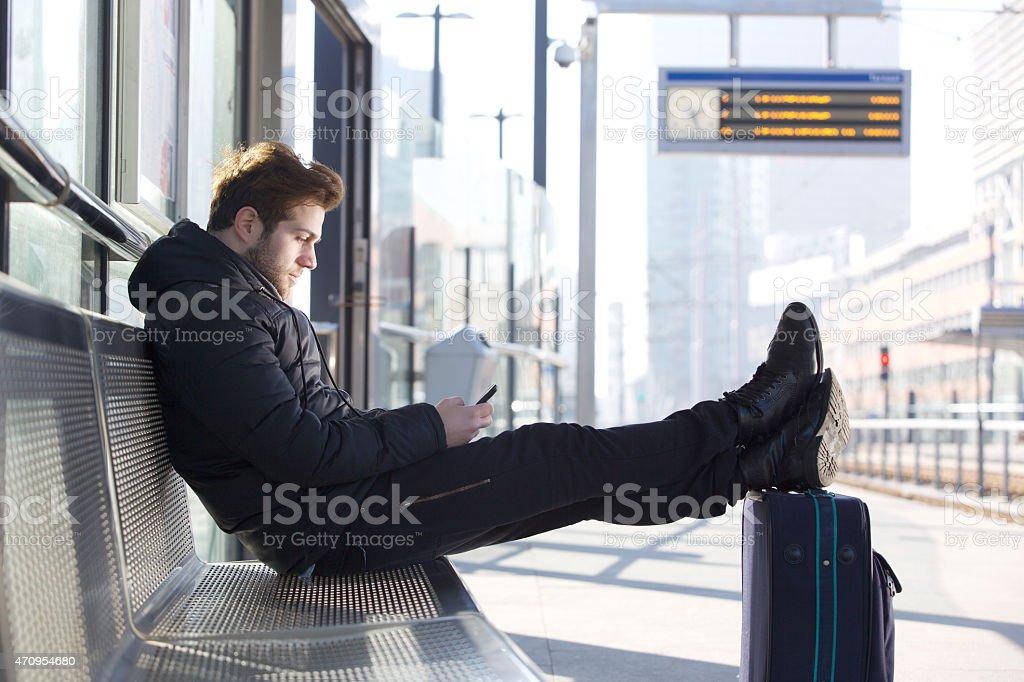 Sending a message home stock photo