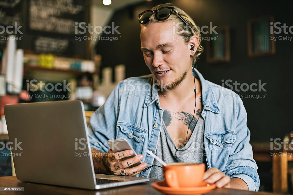 Sending a message to meet up in the cafeteria stock photo