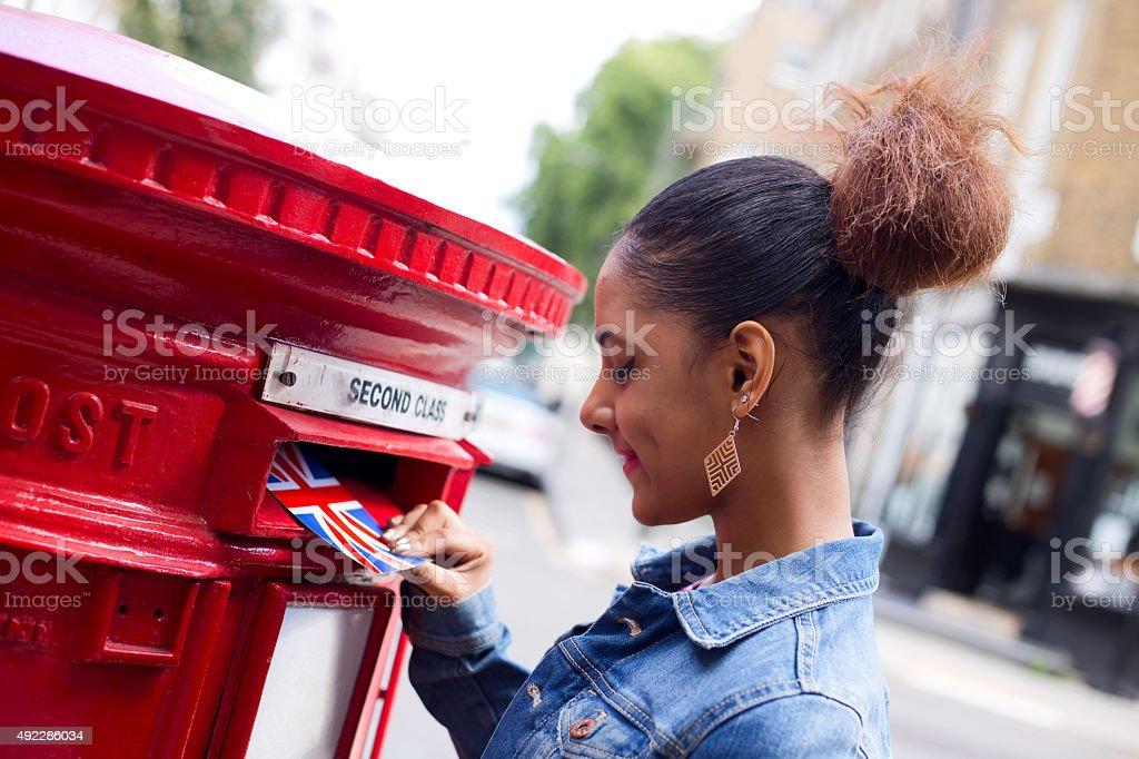 sending a postcard royalty-free stock photo