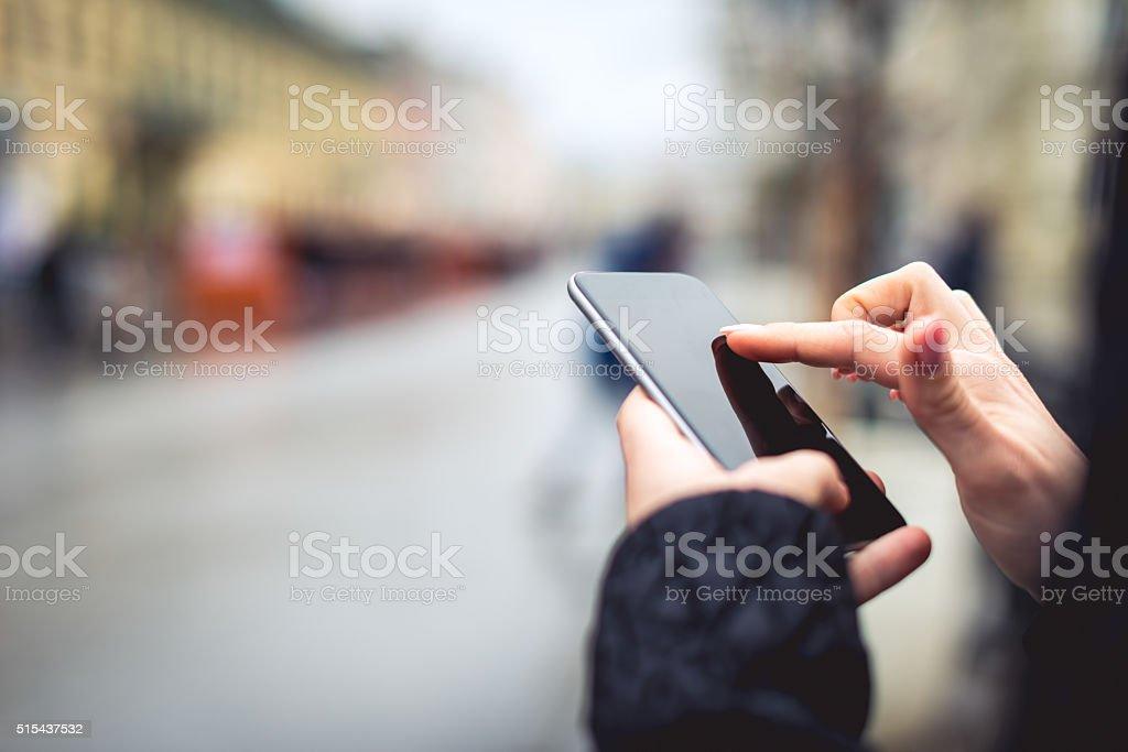 Sending a sms stock photo