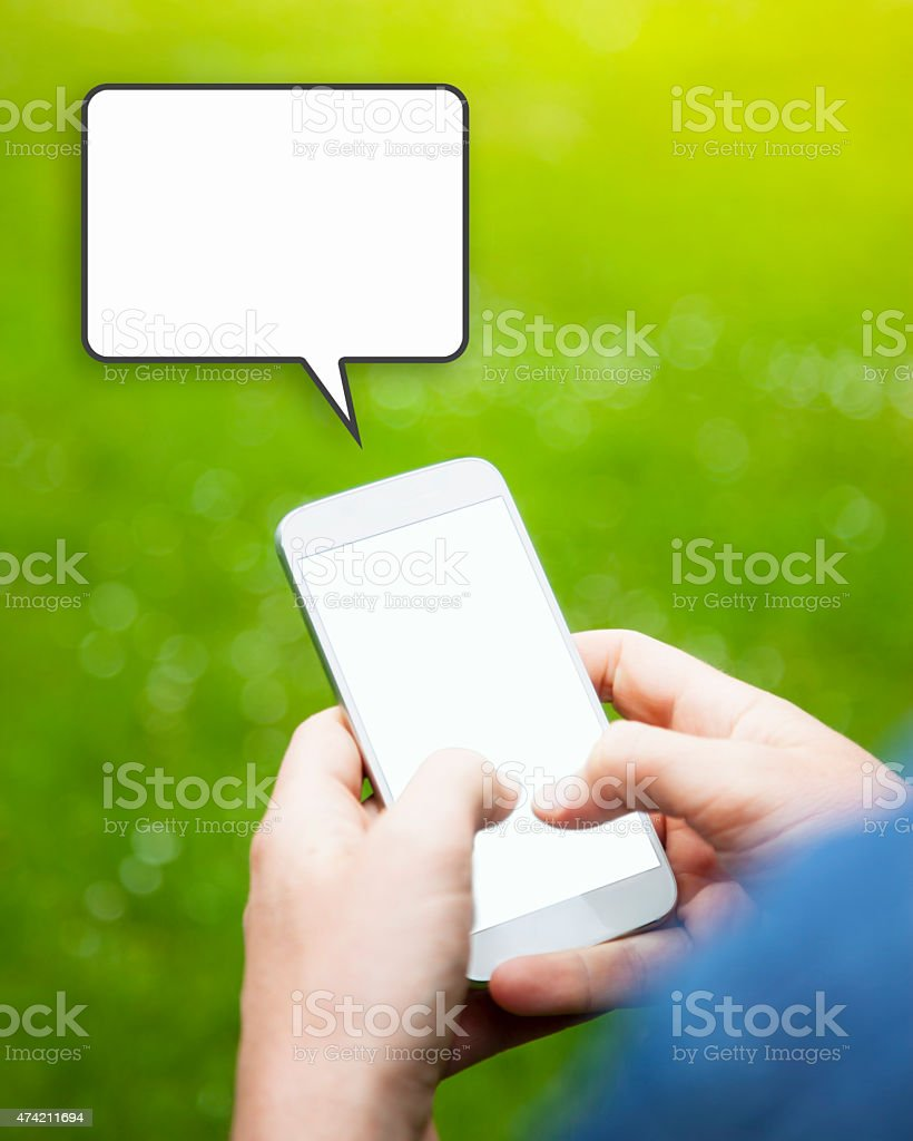 Sending a Text Message stock photo