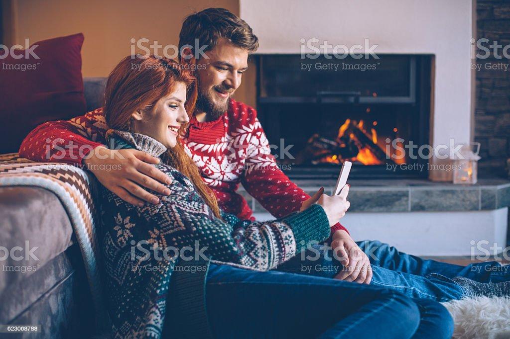 Sending Christmas greeting cards stock photo