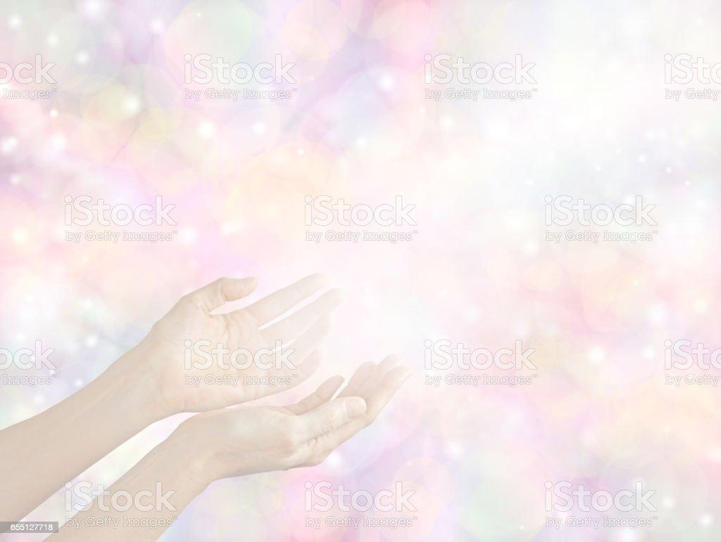 Sending Divine healing energy stock photo