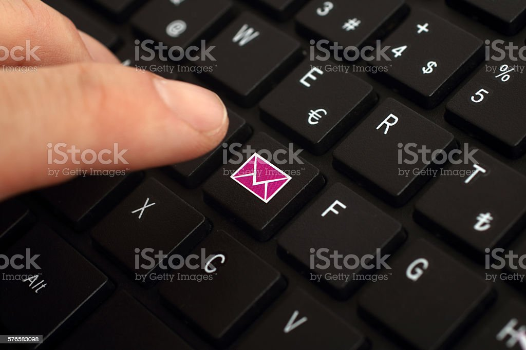 Sending e-mail stock photo