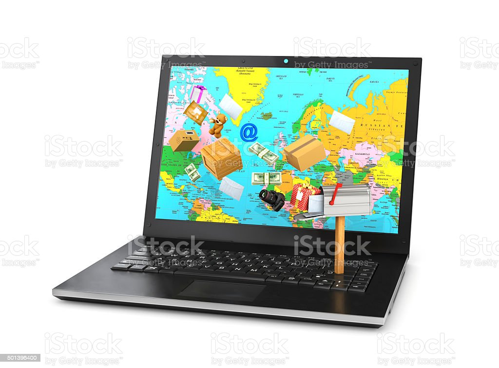 Sending  email protection secure mail via internet on notebook stock photo