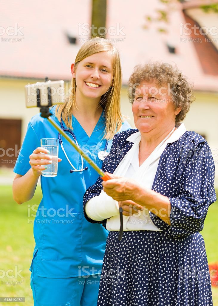 Sending feedback to my family stock photo
