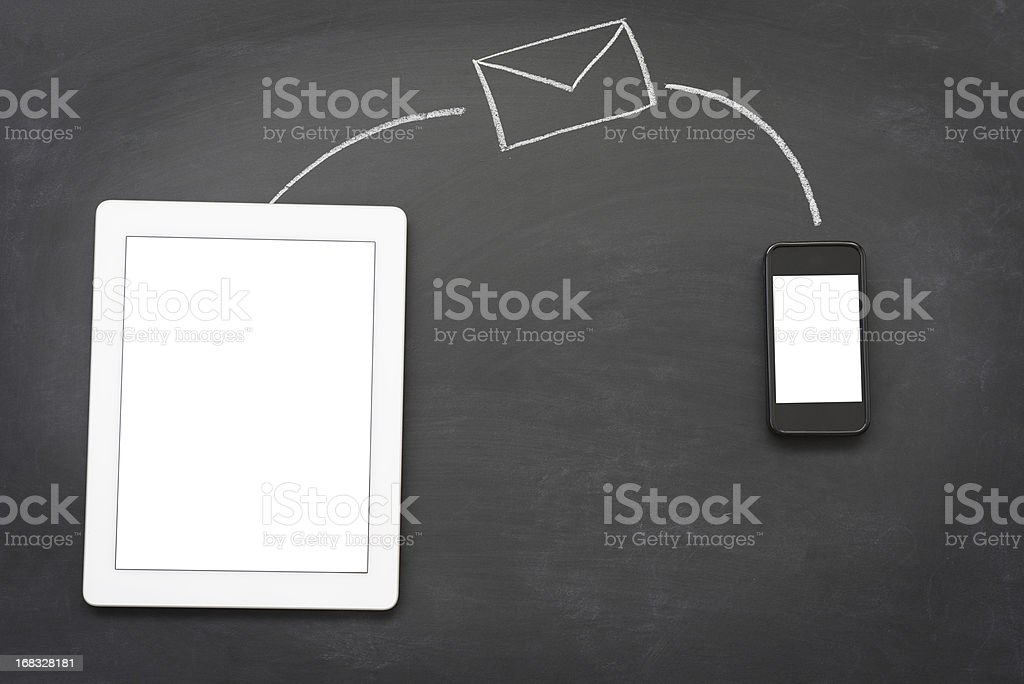 Sending messages with wireless technology royalty-free stock photo
