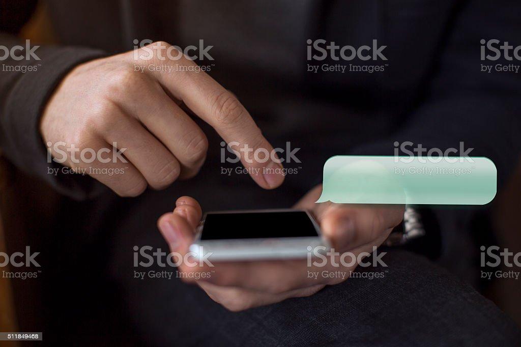 Sending Text Messaging Via Mobile Phone stock photo