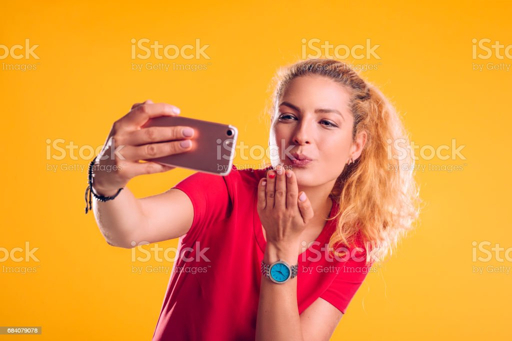 Sending you one kiss stock photo