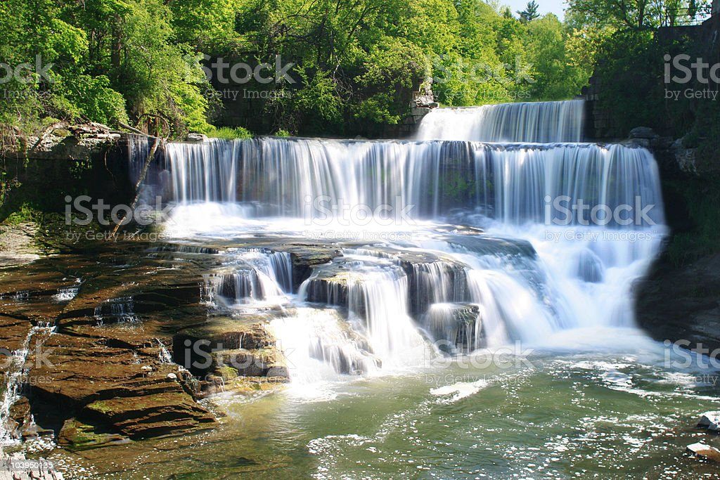 Seneca Mill Falls - Waterfall in Penn Yan, New York stock photo