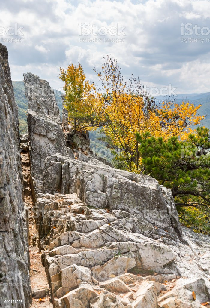Seneca Rocks in West Virginia stock photo