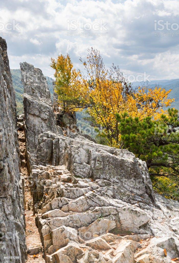 Seneca Rocks in West Virginia stock photo