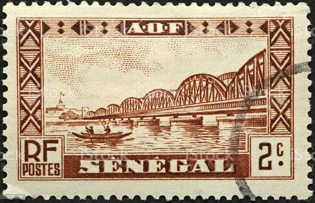 Senegal bridge and river royalty-free stock photo