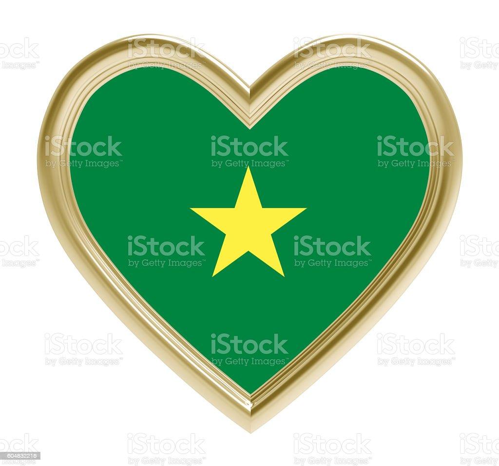 Senegal flag in golden heart isolated on white background. stock photo
