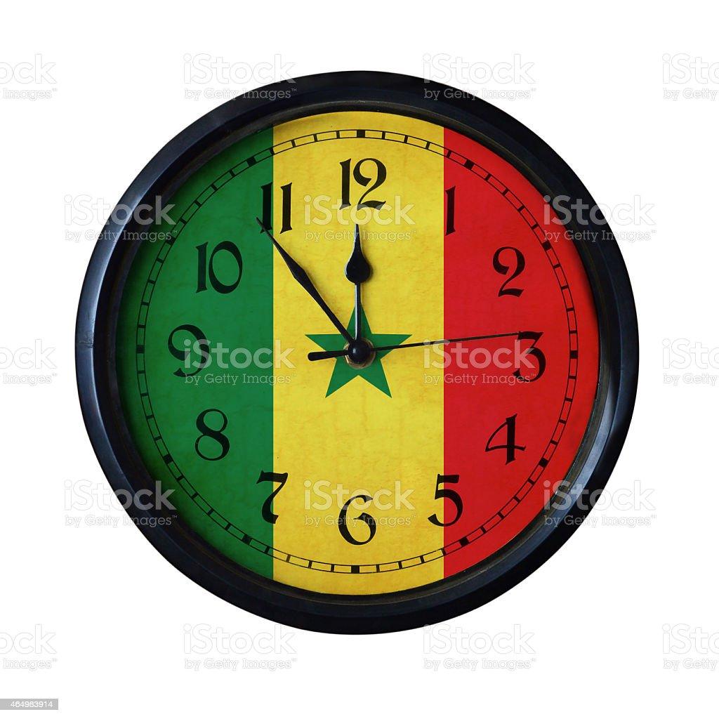 Senegal Flag Wall clock - Watch port for same series stock photo