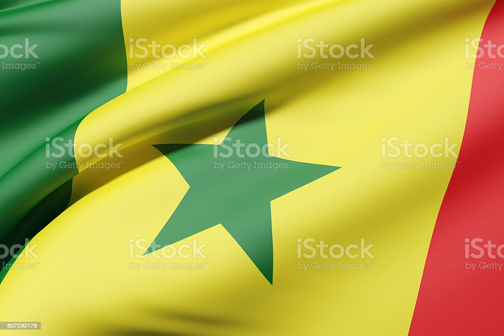 Senegal flag waving stock photo