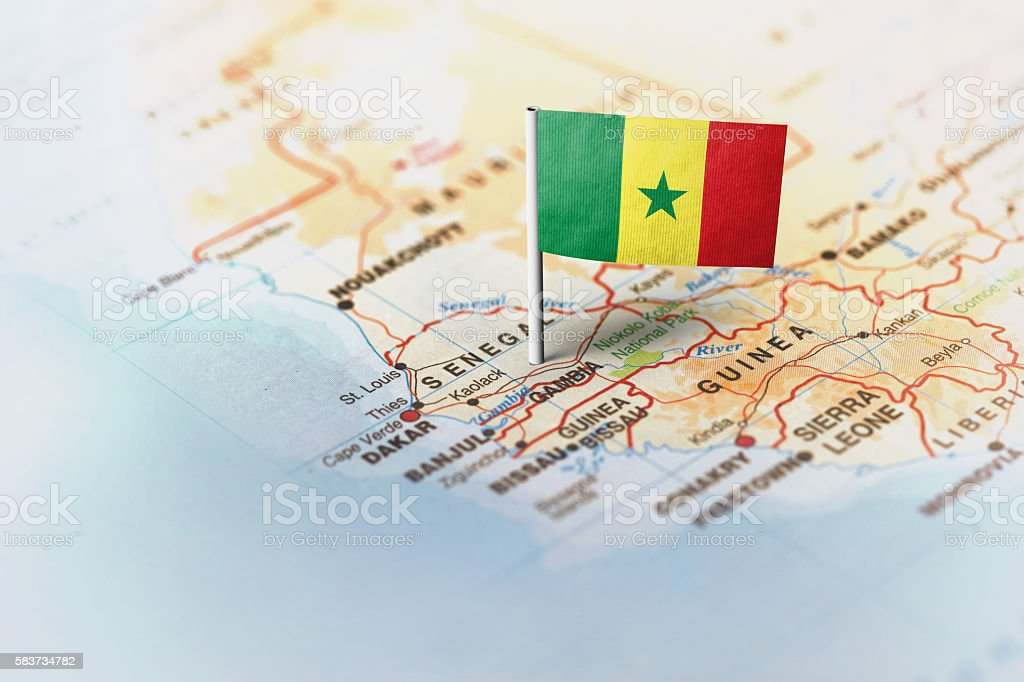 Senegal pinned on the map with flag stock photo