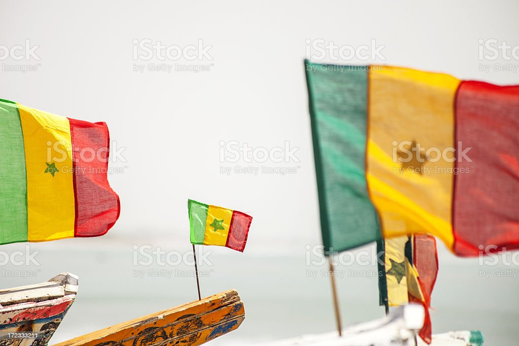 Senegalese flags on fishing boats. royalty-free stock photo