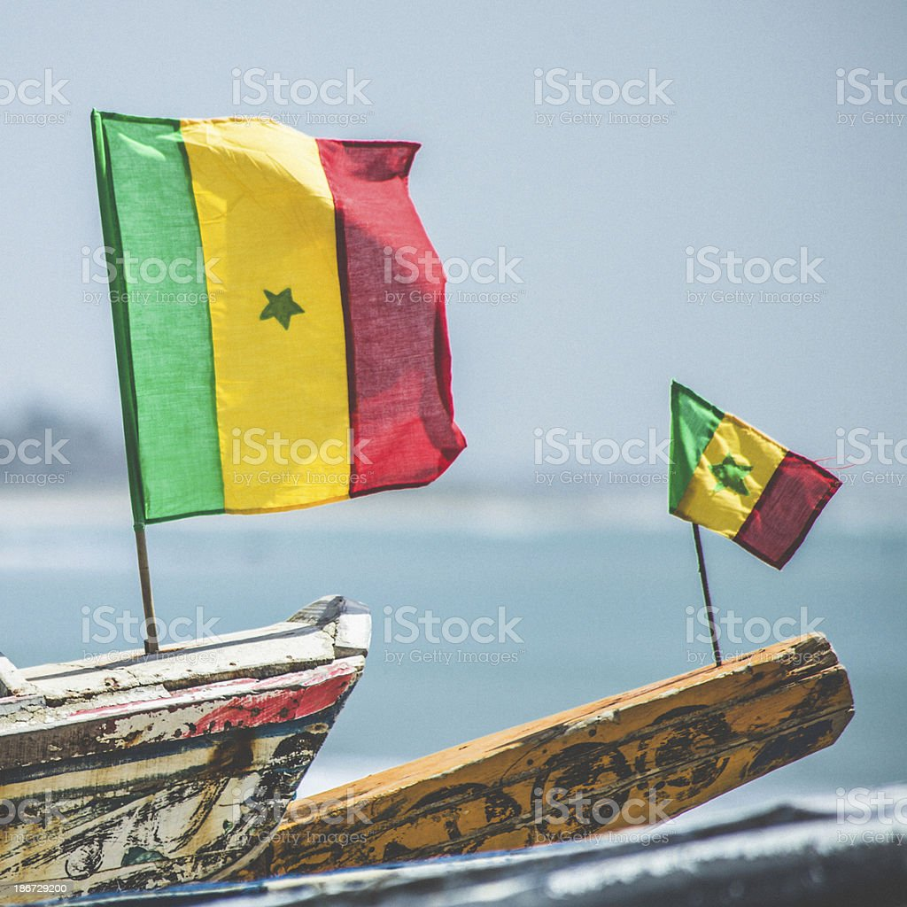 Senegalese flags on fishing boats. stock photo
