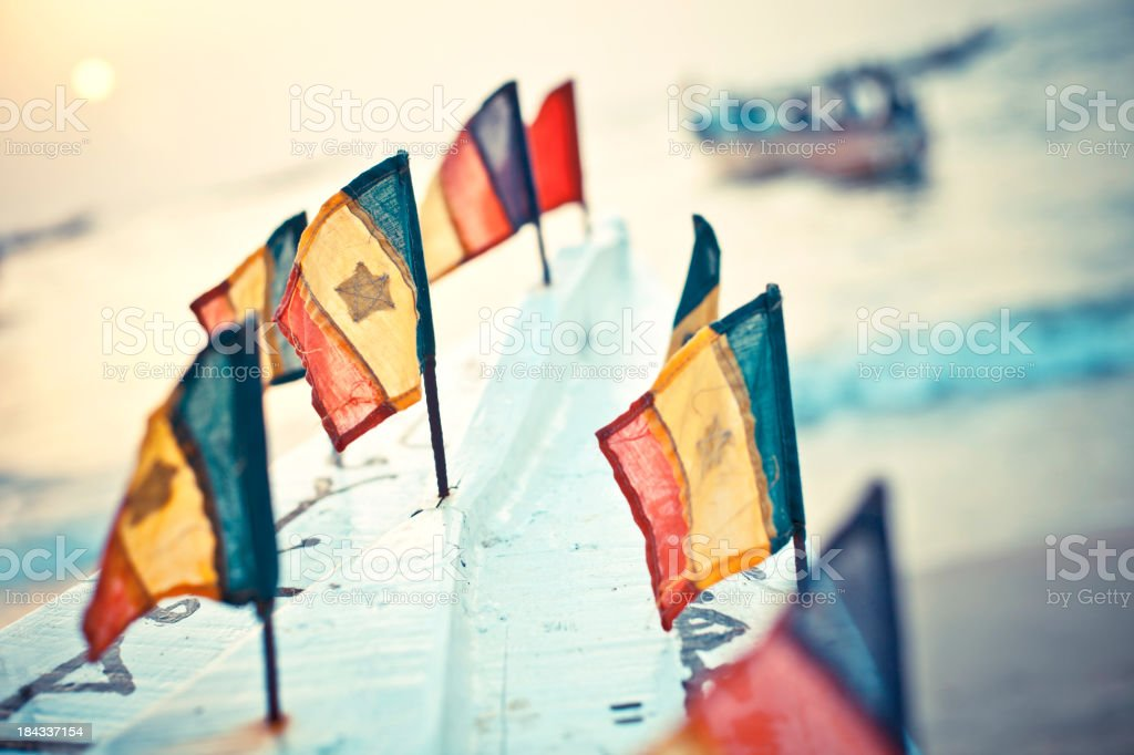 Senegalese flags on the boat. stock photo