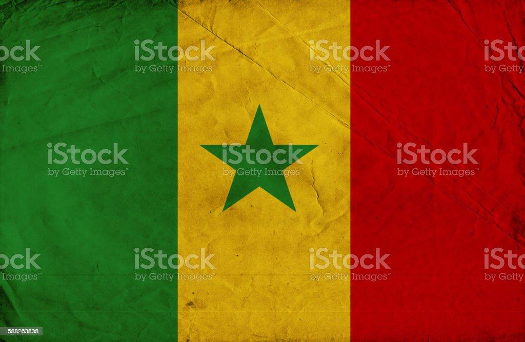 Senegalese vintage Flag stock photo