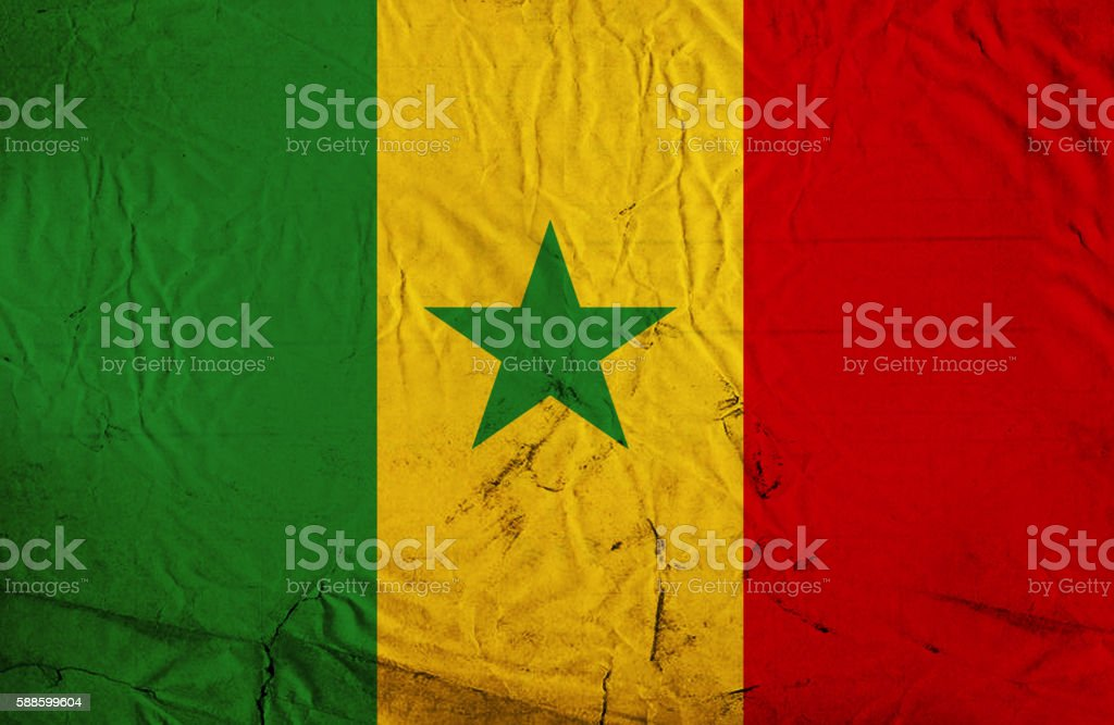 Senegalese vintage Flag stock photo