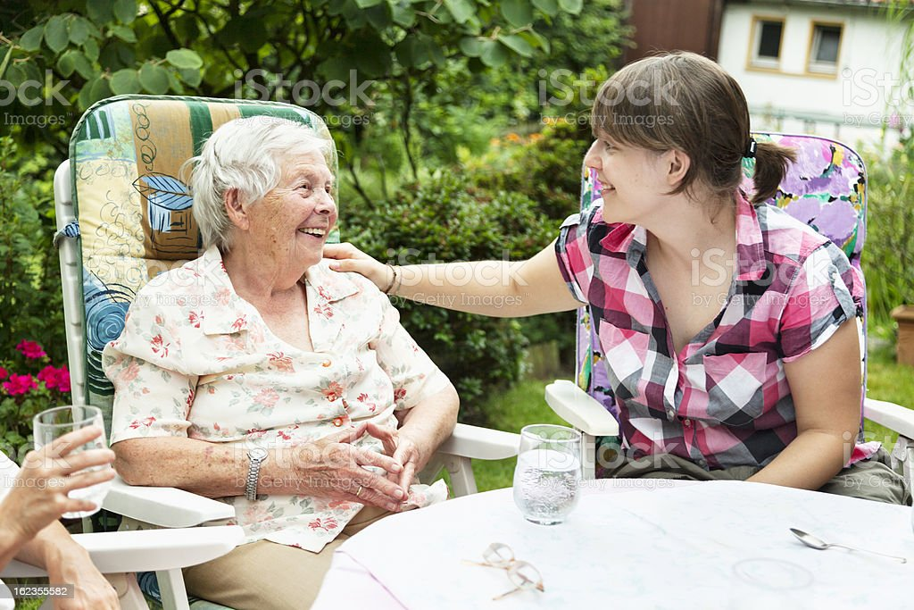 senio woman with granddaughter royalty-free stock photo