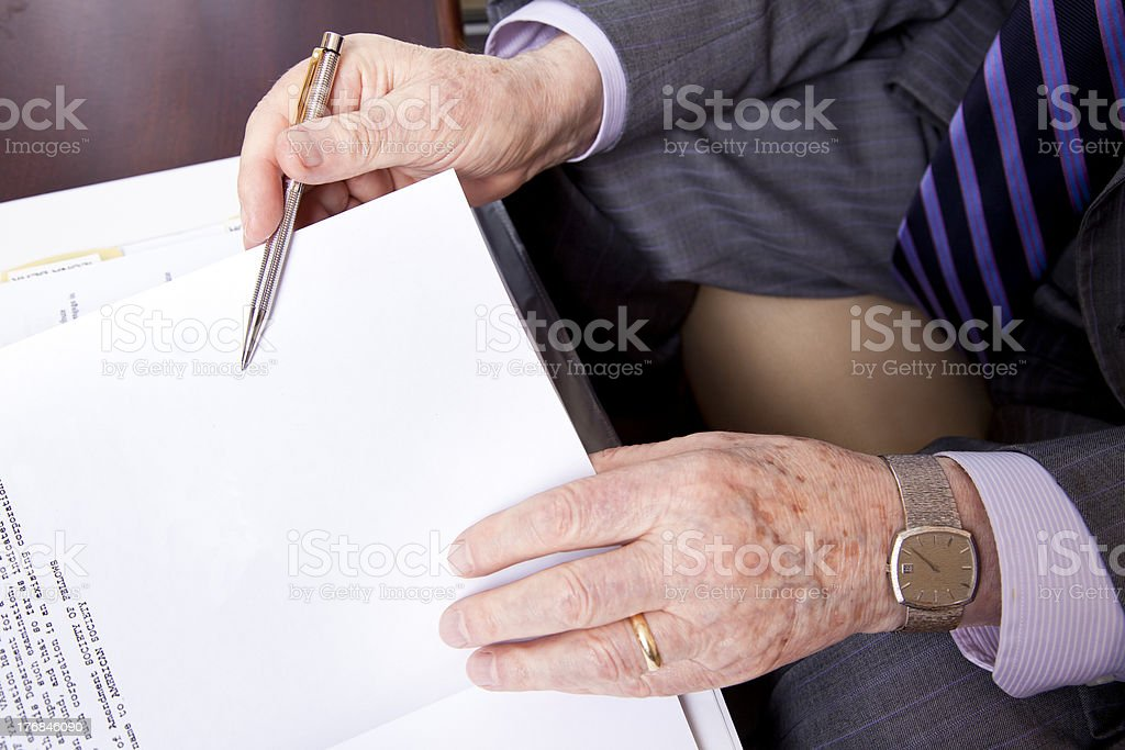 Senior About to Sign royalty-free stock photo