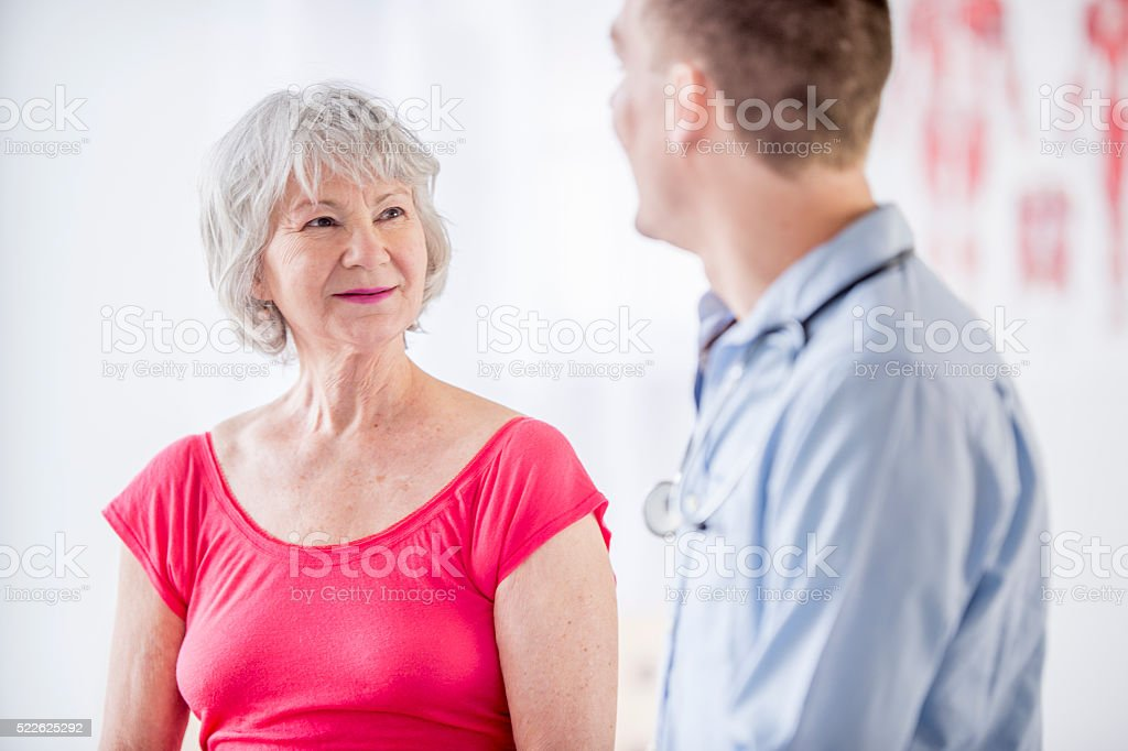 Senior Adult at a Doctors Appointment stock photo