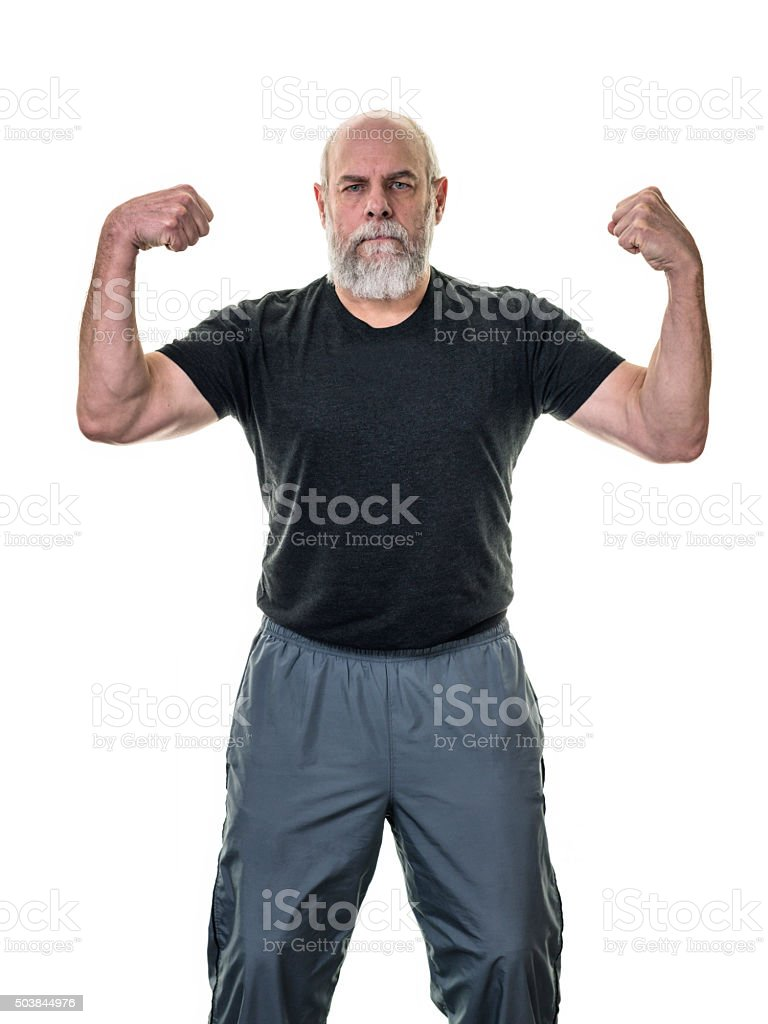 Senior Adult Bald Bearded Fitness Man Flexing Arm Muscles stock photo