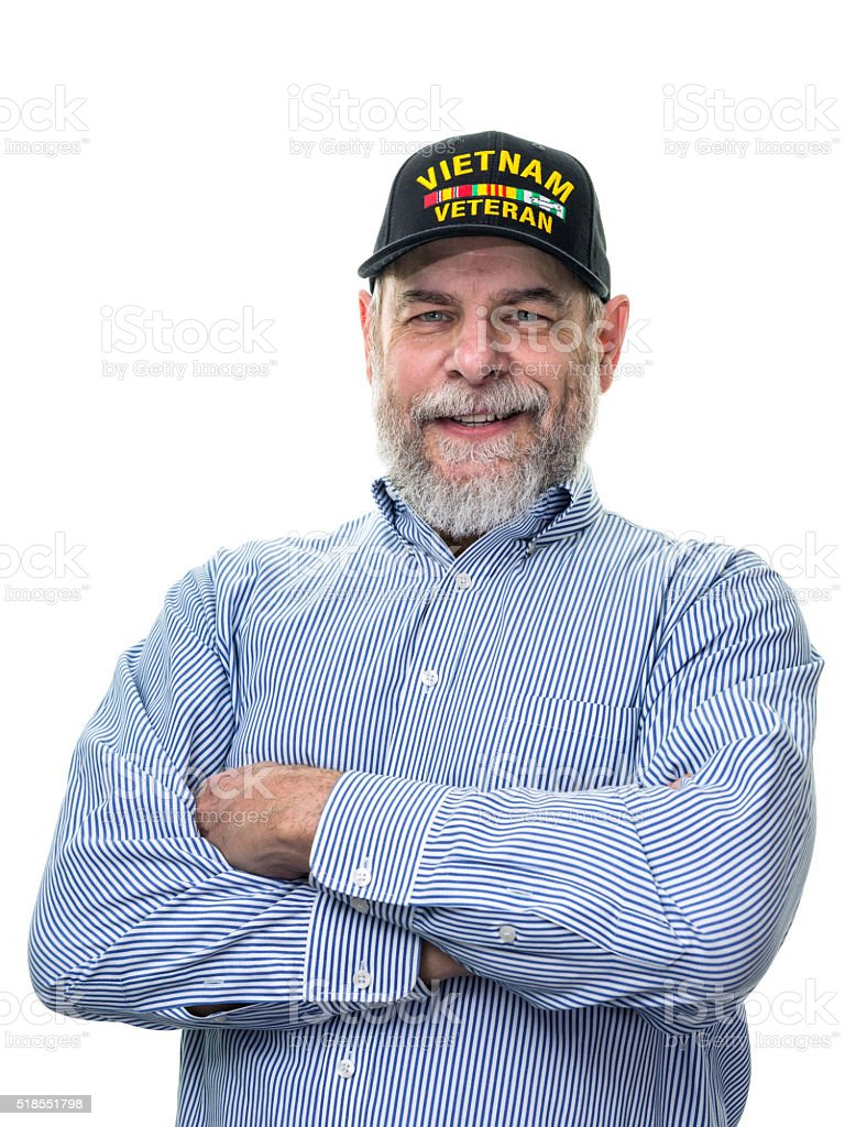 Senior Adult Businessman Vietnam War Military Veteran stock photo