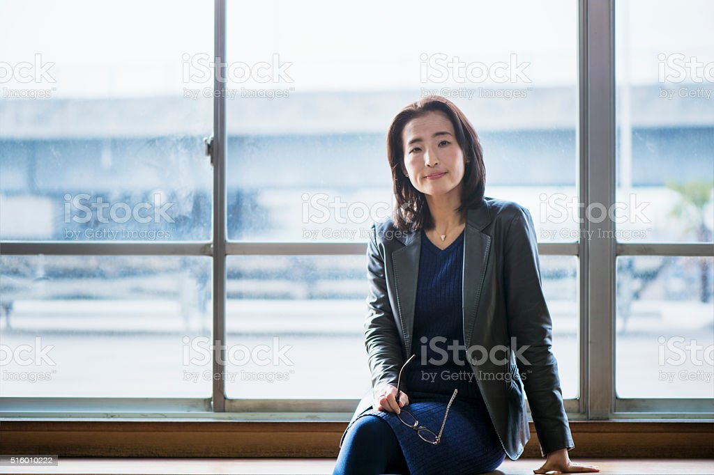 Senior adult businesswoman of the portrait stock photo
