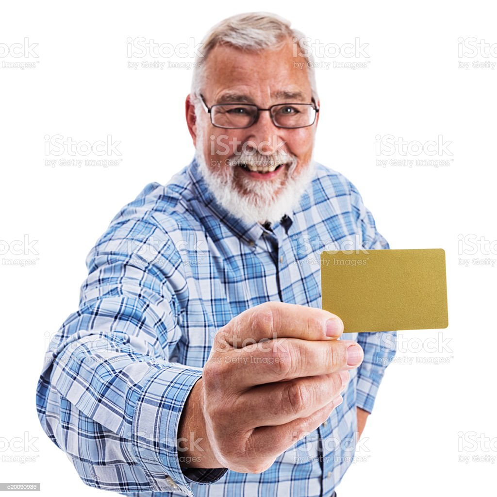 Senior Adult Man Holding a Blank Gold Credit Card stock photo