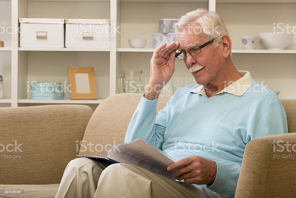 Senior Adult Man Reading royalty-free stock photo