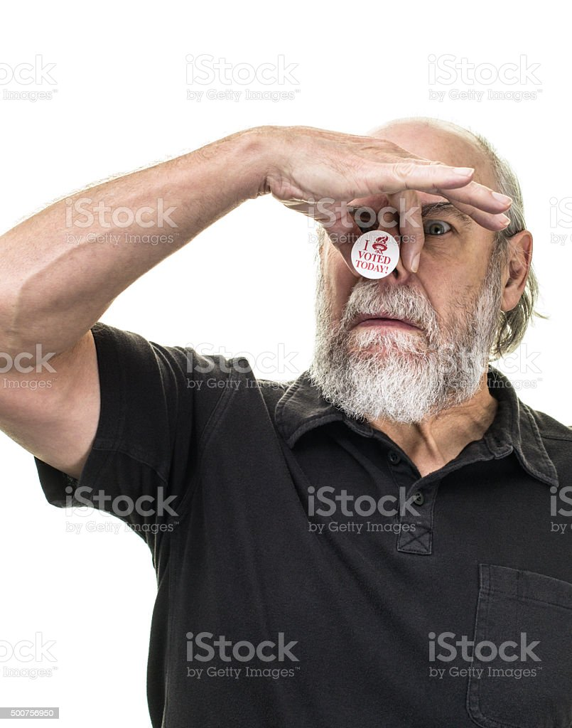 Senior Adult Man Voter Holding Nose stock photo