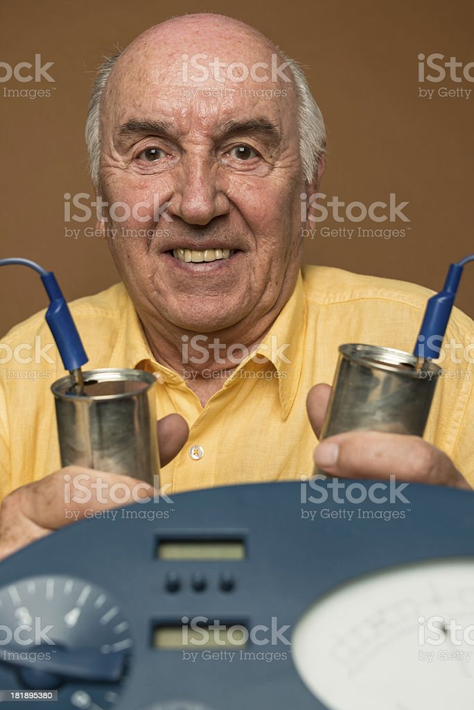 A senior adult man who is a Scientologist royalty-free stock photo