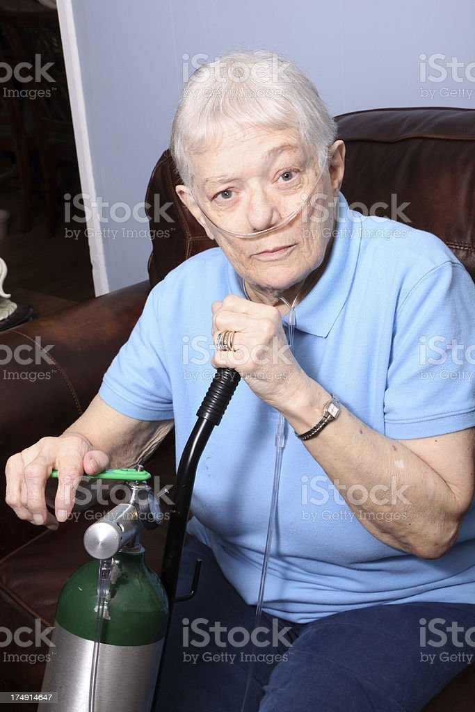 Senior Adult on Oxygen stock photo