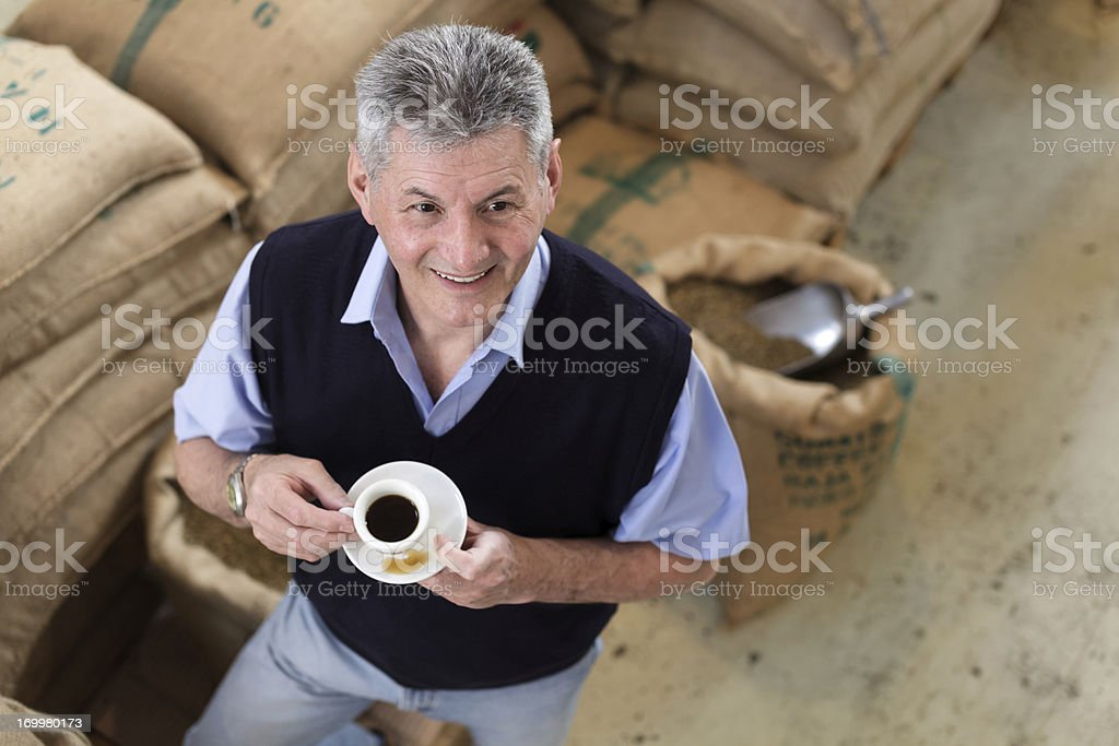 Senior Adult owner of a Coffee Roastery royalty-free stock photo